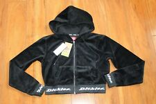 NWT WOMENS DICKIES SZ S CROP HOODIE BLACK VELOUR