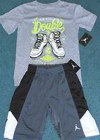 NWT Nike Jordan Boys S Gray/Black/White Shoes DOUBLE UP Shorts Set Small 8