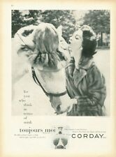 1955 Corday PRINT AD Toujours Moi Perfume Vintage Bottle  Mink Coat Hat