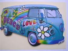BLUE LOVE AND PEACE DESIGN VW CAMPER VAN WALL HANGING KEY RACK. NEW. KEYRACK.