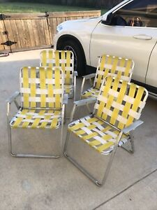 Vintage Aluminum Webbed Folding Yellow White Lawn Chairs Set Of 4 1970's ~NICE