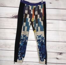 Tracy Reese Linen Silk Skinny Crop Print P Colorblock Pattern Size 2 Pant