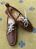 Gucci Mens Shoes Brown Leather Boating Loafers Driver UK 8.5 US 9.5 EU 42.5 Croc