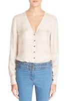 * NWT Veronica Beard 'Bahia' Printed Silk Blouse Geometric Pink Size 4 MSRP $395