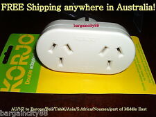 KORJO Double Travel Plug Adaptor-AU Australia to EU Europe/Bali/Tahiti/S.America