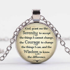 "GOD SERENITY PRAYER pendant 20"" Sterling Silver 925 necklace chain female men"