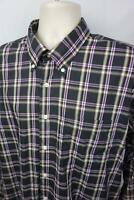 Peter Millar Mens XL Button Down Shirt Long Sleeve Pocket Purple Black Plaid