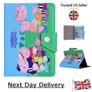 """Peppa Pig Family Tablet Case for 7 """" 8 9.7 10.1 inch children Stand up Tab Cover"""