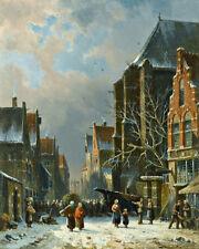 Adrianus Eversen Busy Street in Winter  Wall  Art  Canvas