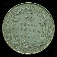 1929 Canada, King George V, Silver Fifty Cent Piece   F122
