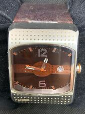 Fossil JR9387 Men's Watch Digital Analog Display Brown Leather Rectangle O878