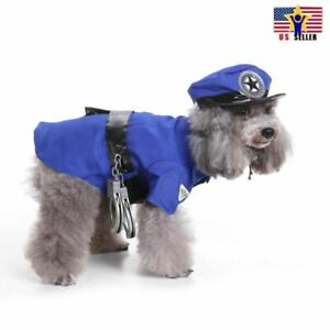 POLICE Cops Uniform Dress Up Funny Cute Pet Dog Costume Cosplay Halloween Party