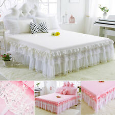 Modern Romantic Lace Sequin Bed Skirt Valance Sheet Fitted Princess Bedroom AU