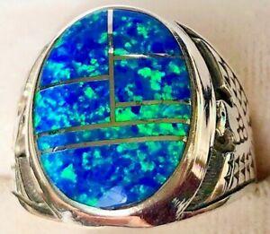 BIG HANDSOME Black Blue Opal Thunderbird Men's Powerful Sterling Silver 925 12 Y