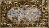 """Old Map of the World VIII Large Jacquard Tapestry Wall Hanging 52"""" x 72"""""""