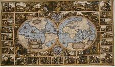 "Old Map of the World VIII Large Jacquard Tapestry Wall Hanging 52"" x 72"""