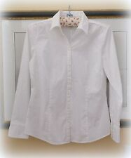ANN TAYLOR LOFT 12 WOMEN WHITE LONG SLEEVE STRETCH FITTED BLOUSE SHIRT TOP