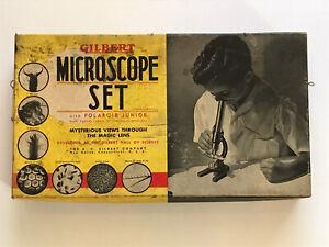 Gilbert 1938 Microscope Lab Set Model No 8 Polaroid Junior