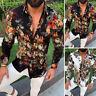 Mens Floral Print Shirt Tops Lapel Long-Sleeve Casual Slim Fit Large Size M-3XL