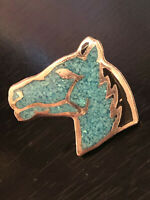 Vintage Collectible Horse Head Looks Like Turquoise Pieces Metal Pin Back