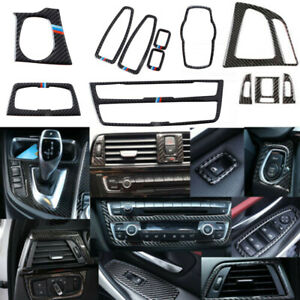 12pcs Real Carbon Fiber Interior Trim Decor Cover For BMW 3 4 Series F30 F34 F35