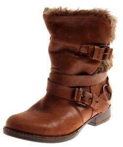 Bullboxer warme Lederstiefelette Leder Schuhe Damen gefüttert cognac 2292