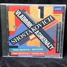 SHOSTAKOVICH Violin & Piano Concertos - BELKIN ORTIZ - LONDON CD SOLID SILVER NM