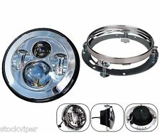 """7"""" Motorcycle Daymaker CHROME LED Headlight Lamp Extension Trim Ring For Harley"""