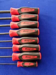 Snap On Tools 8 Pc Hex ball Screwdriver soft grip Set SGAM900BR 2mm to 10mm