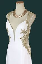 New Jovani Authentic JVN 33478 White/Gold Halter Pageant Cruise Evening Dress 6
