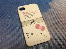 Hello Kitty iPhone 4/4S White / Silver Quality Hard Case With Build In Stand