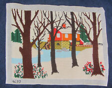 New listing Vintage Finished Completed Needlepoint Bucilla 4673 Country House Water Wheel