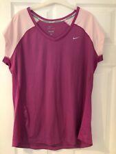 Nike women's Uk size Xl extra large pink running exercise top t-shirt