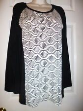 Perseption Black White Blouse Summer/Fall, Soft,THIN Long Sleeve Shirt Top Large