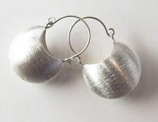 Karen Hill Tribe Silver 1 pair Brushed Half Moon Hoop Drop Earrings.17x23 mm.