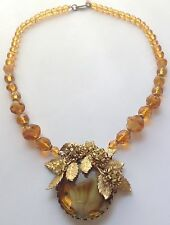 VINTAGE MIRIAM HASKELL SIGNED TOPAZ SWIRL GLASS BEAD PENDANT NECKLACE