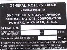 1930 1931 1932 1933 1934 1935 1936 1937 1938 GMC TRUCK CAR ID TAG  DASH PLAQUE