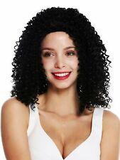 Parrucca Donna lungo Voluminoso Kraus Ricci Afro Ricci Riga in Mezzo Nero 7026606fadd