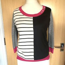 Per Una Ladies Jumper 12 Casual Smart Stripy Everyday Day Work Buttons Winter