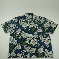 Island Style Mens Extra Large Button Up Hawaiian Shirt Blue Floral Short Sleeve