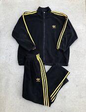 Vintage ADIDAS Black and Yellow Tracksuit Jacket Pants Set 3 Stripes rap DMC