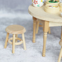 1/12 Dollhouse Miniature Furniture Round Stool Chair for Kids Pretend Play To YK