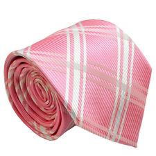 Baby Pink Men Tie with White Stripe Wedding Business Office Party Men Necktie