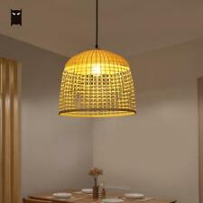 Bamboo Rattan Bell Pendant Light Fixture Rustic Vintage Hanging Ceiling Lamp LED