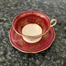 Foley (Purplish)  Red Gold Gilt Wide Mouth Teacup And Saucer