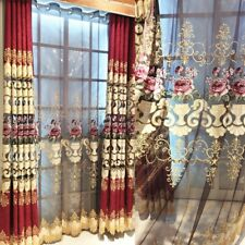 Embroidery Hollow Out Curtain Drape Fabric Cloth Room Decor Semi-finished Luxury
