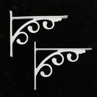 2Pcs European Style Wall Mounted Shelf Bracket Hanging Holder White 12x15cm