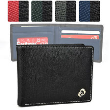 Black Bi-Fold Synthetic Leather Wallet for Men Slim and Includes Window ID Slot