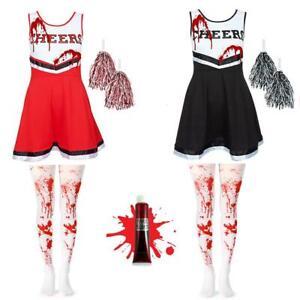 GIRLS CHEERLEADER DRESS BLOOD TIGHTS DEAD ZOMBIE HIGH SCHOOL FANCY DRESS COSTUME