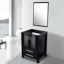 24'' Black Bathroom Vanity  W/O Top Mirror Table Cabinet For Rectangle Sink wood